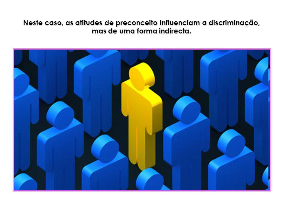 Neste caso, as atitudes de preconceito influenciam a discriminação, mas de uma forma indirecta.