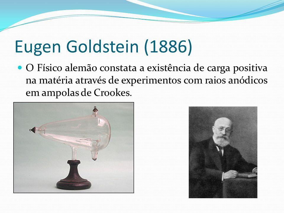 Eugen Goldstein (1886) O Físico alemão constata a existência de carga positiva na matéria através de experimentos com raios anódicos em ampolas de Cro