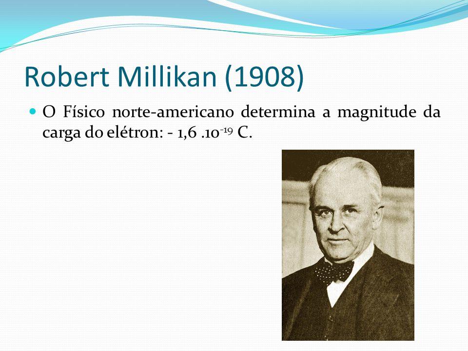 Robert Millikan (1908) O Físico norte-americano determina a magnitude da carga do elétron: - 1,6.10 -19 C.