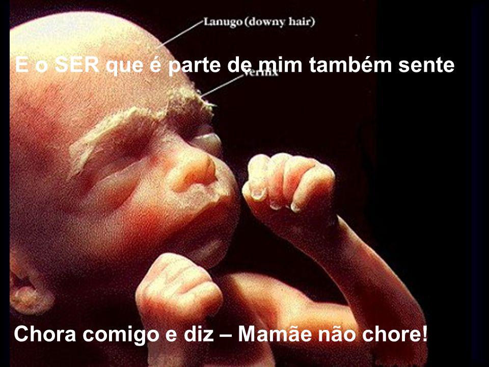 E o SER que é parte de mim também sente Chora comigo e diz – Mamãe não chore!