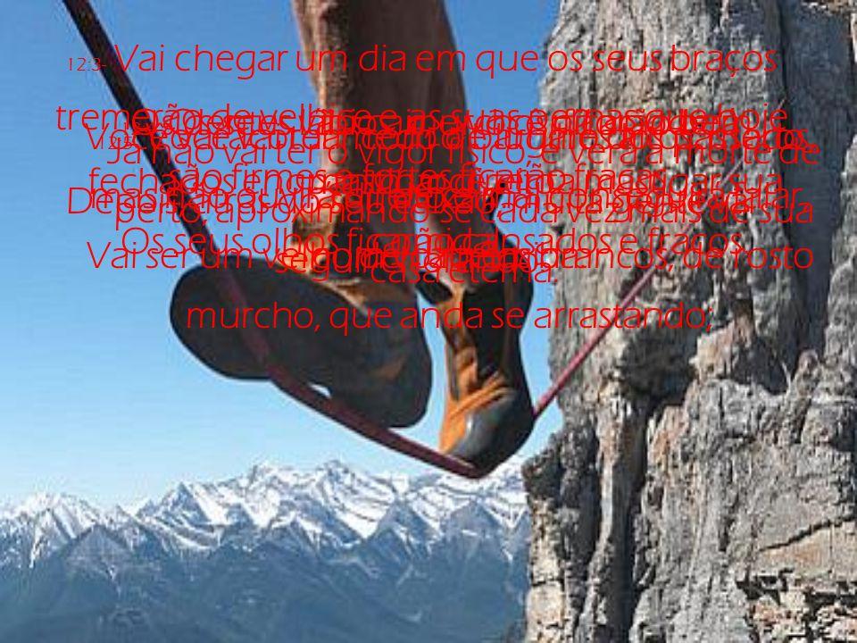 12:3- Vai chegar um dia em que os seus braços tremerão de velhice e as suas pernas que hoje são firmes e fortes ficarão fracas.