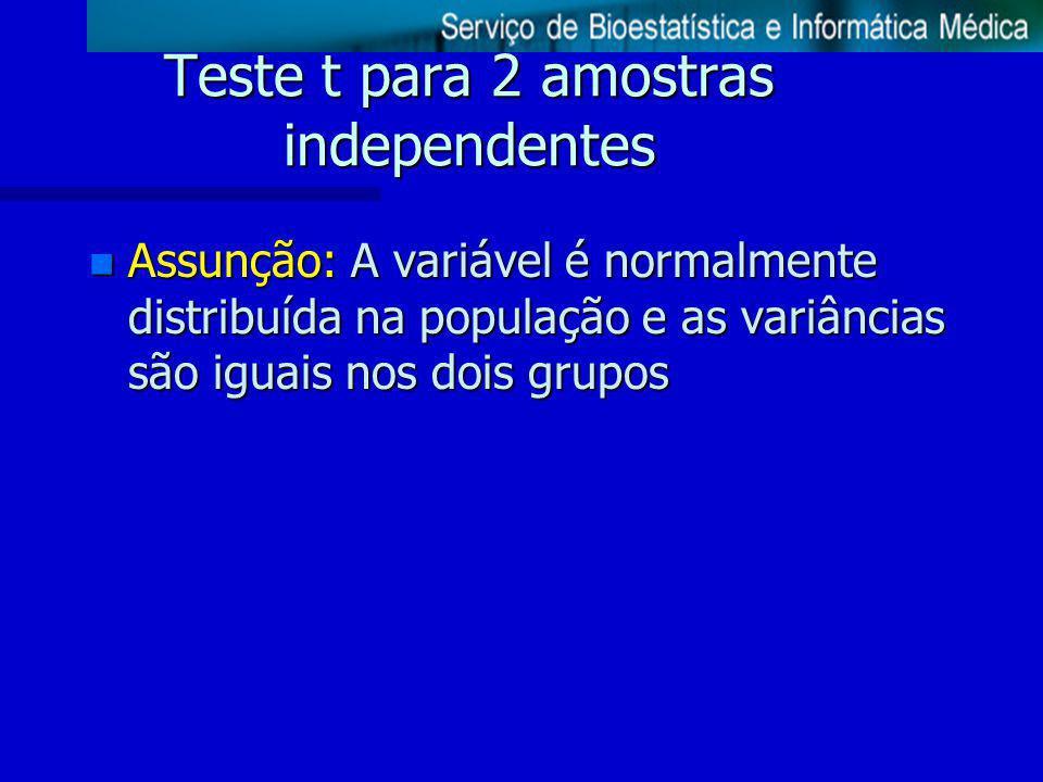 Teste t para 2 amostras independentes n Assunção: A variável é normalmente distribuída na população e as variâncias são iguais nos dois grupos