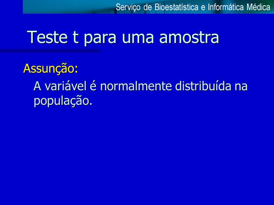 Teste t para uma amostra Assunção: A variável é normalmente distribuída na população.