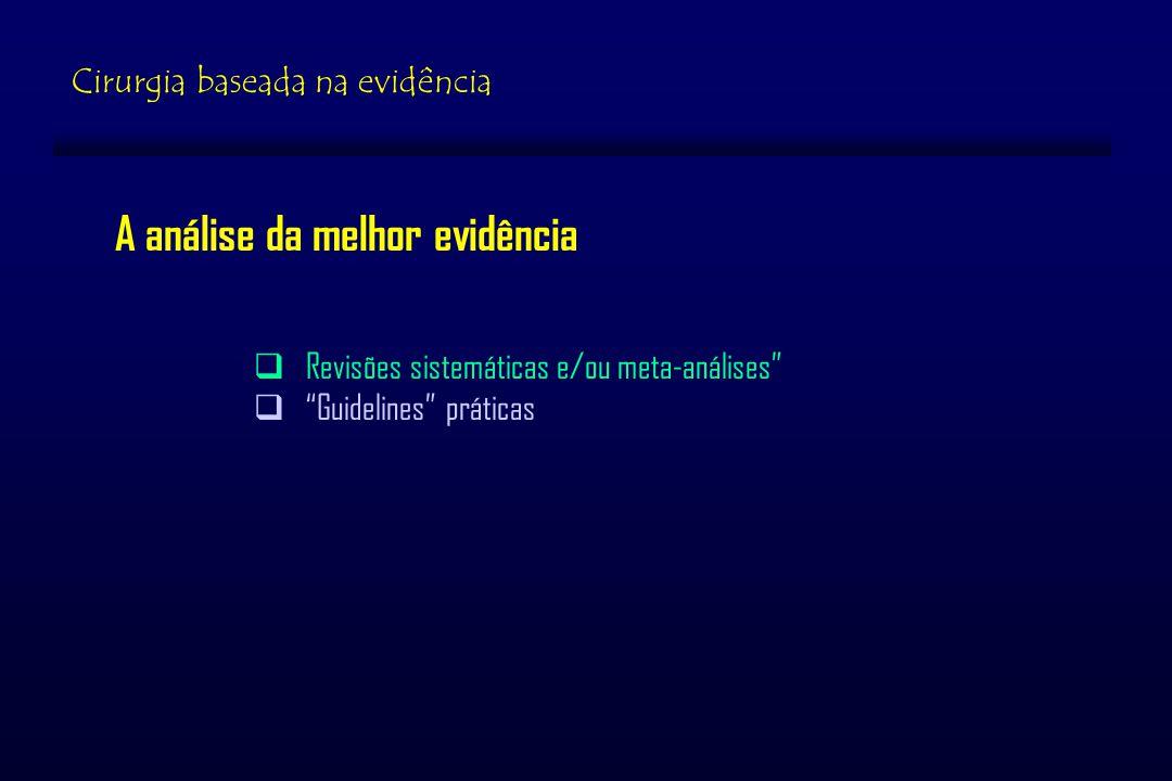 Cirurgia baseada na evidência A análise da melhor evidência Revisões sistemáticas e/ou meta-análises Guidelines práticas