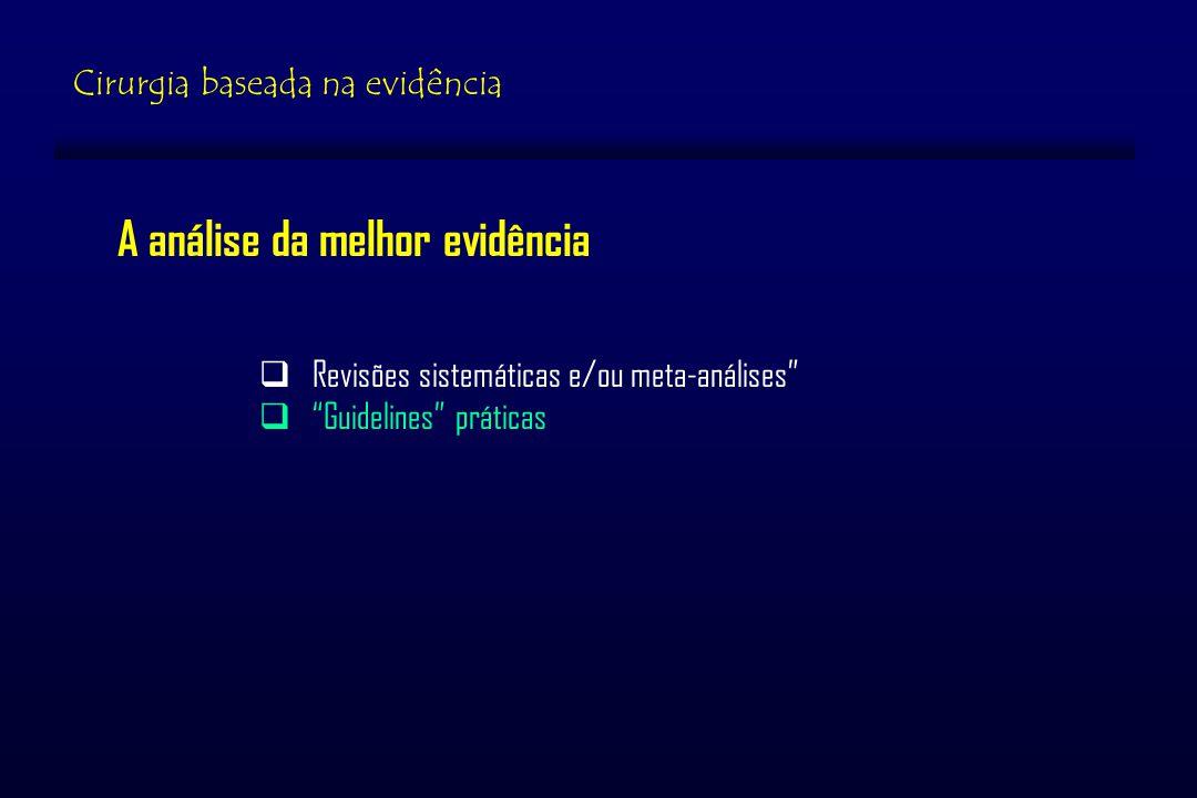A análise da melhor evidência Revisões sistemáticas e/ou meta-análises Guidelines práticas