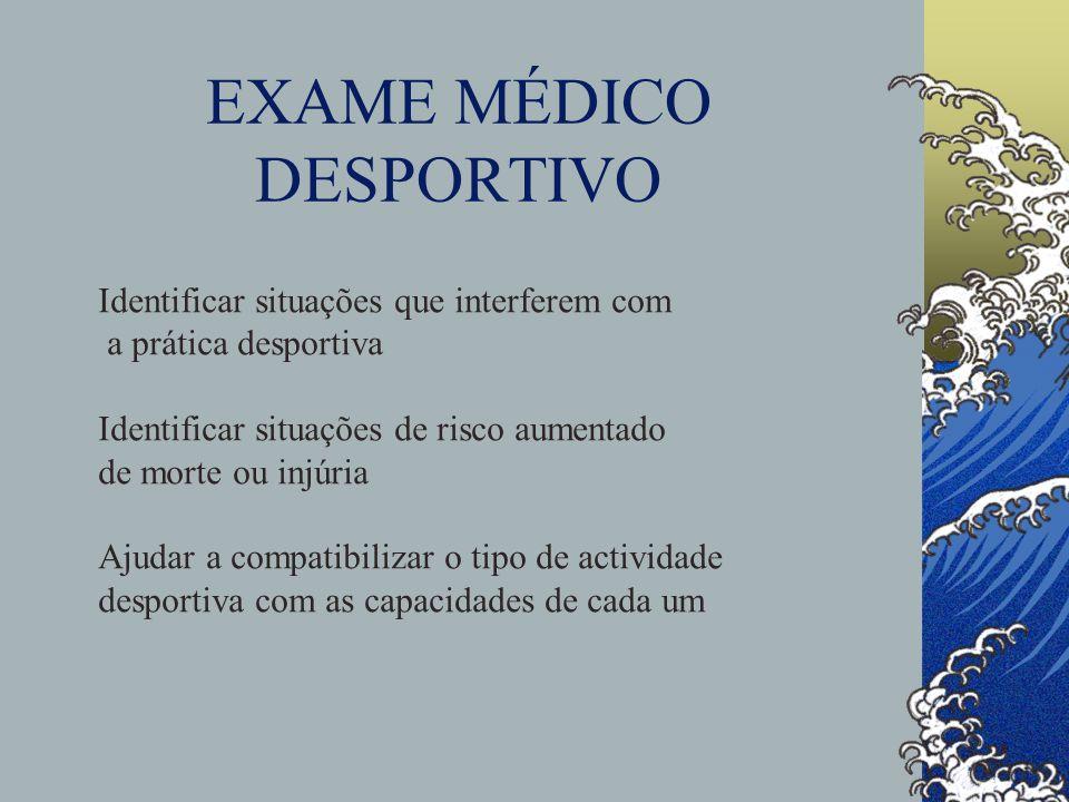 EXAME MÉDICO DESPORTIVO Identificar situações que interferem com a prática desportiva Identificar situações de risco aumentado de morte ou injúria Aju
