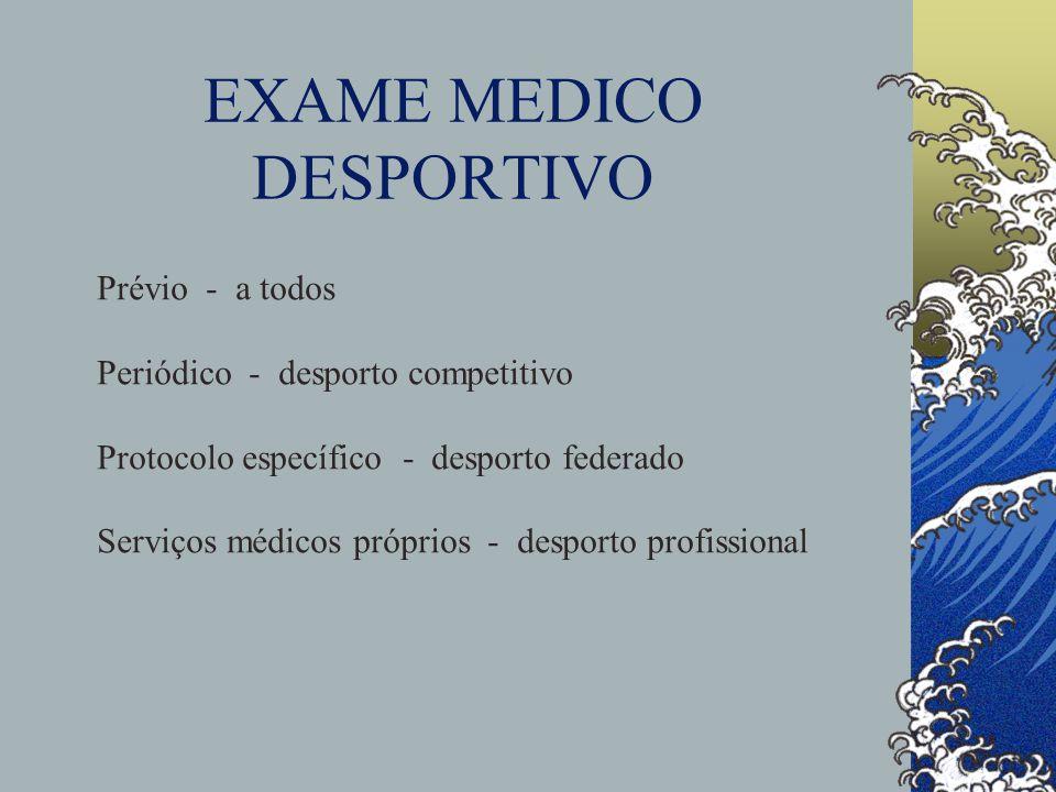 EXAME MEDICO DESPORTIVO Prévio - a todos Periódico - desporto competitivo Protocolo específico - desporto federado Serviços médicos próprios - desport