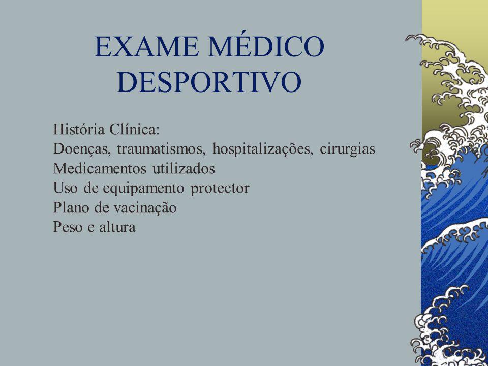 EXAME MÉDICO DESPORTIVO História Clínica: Doenças, traumatismos, hospitalizações, cirurgias Medicamentos utilizados Uso de equipamento protector Plano