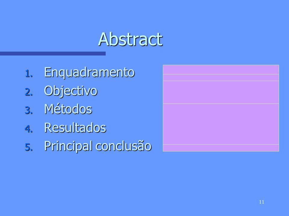 10 IMRAD n Introdução n (Participantes e) Métodos n Resultados And n Discussão n O resumo é, frequentemente, a única parte de um artigo que a maioria