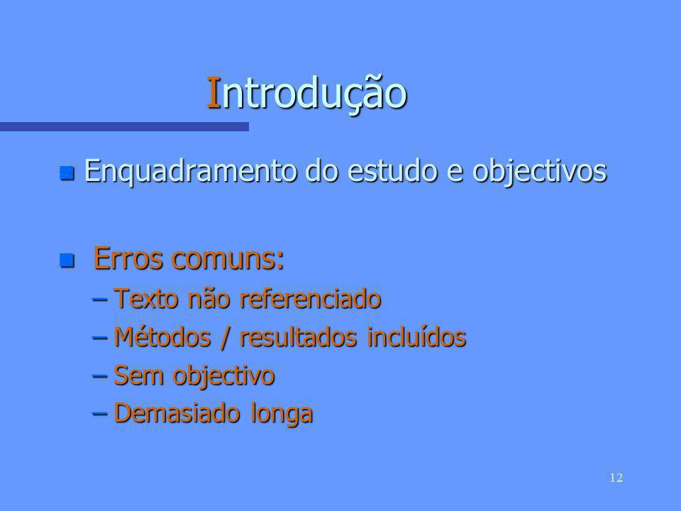 11 Abstract 1. Enquadramento 2. Objectivo 3. Métodos 4. Resultados 5. Principal conclusão