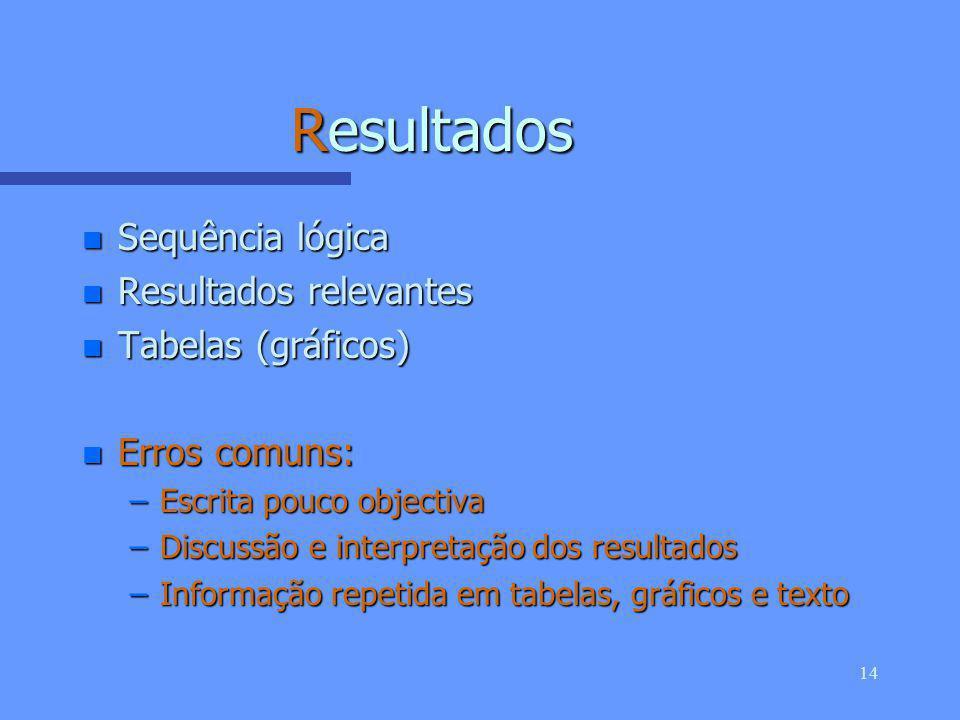 13 (Participantes e) Métodos n Selecção e descrição dos participantes n Informação técnica n Estatística n Erros comuns: –Falta de informação sobre participantes –Inclusão de resultados –Falta dos métodos de estatística