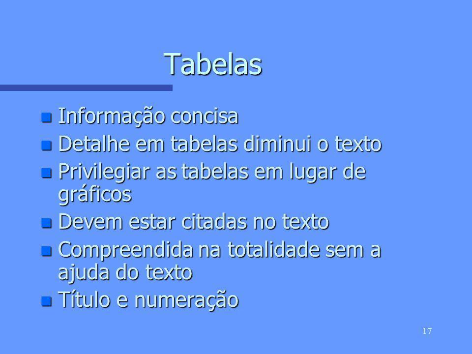 16 Referências n Referências directas n Numeradas consecutivamente à medida que aparecem no texto (todas as referências devem ser citadas no texto) n