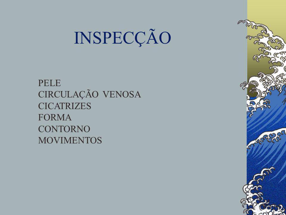 INSPECÇÃO PELE CIRCULAÇÃO VENOSA CICATRIZES FORMA CONTORNO MOVIMENTOS
