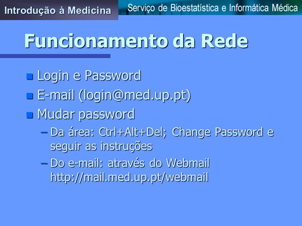 Funcionamento da Rede n Login e Password n E-mail (login@med.up.pt) n Mudar password –Da área: Ctrl+Alt+Del; Change Password e seguir as instruções –Do e-mail: através do Webmail http://mail.med.up.pt/webmail Introdução à Medicina