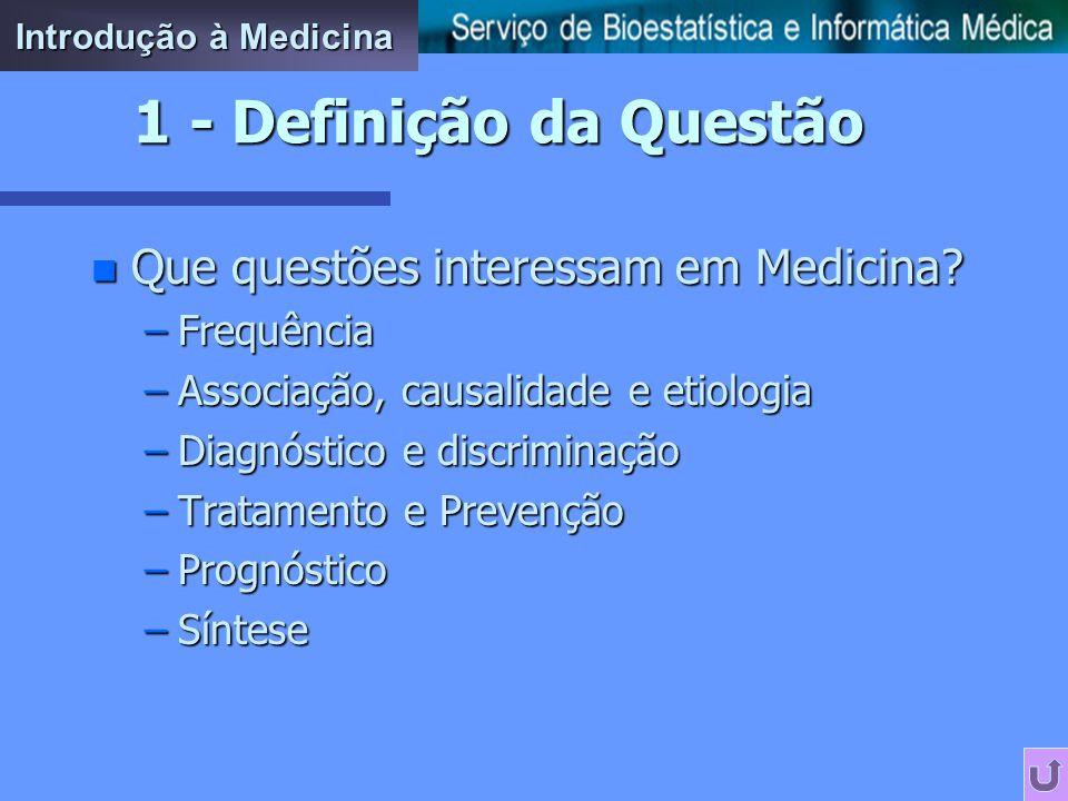 n Que questões interessam em Medicina.
