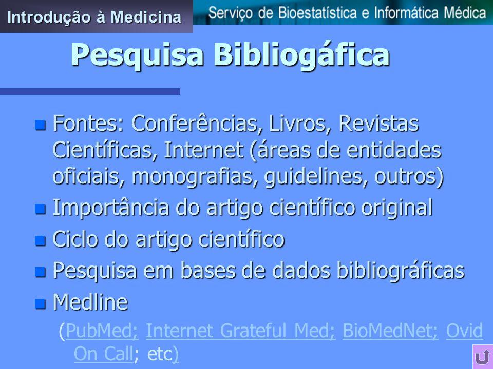 n Fontes: Conferências, Livros, Revistas Científicas, Internet (áreas de entidades oficiais, monografias, guidelines, outros) n Importância do artigo científico original n Ciclo do artigo científico n Pesquisa em bases de dados bibliográficas n Medline (PubMed; Internet Grateful Med; BioMedNet; Ovid On Call; etc)PubMed;Internet Grateful Med;BioMedNet;Ovid On Call) Pesquisa Bibliogáfica Introdução à Medicina