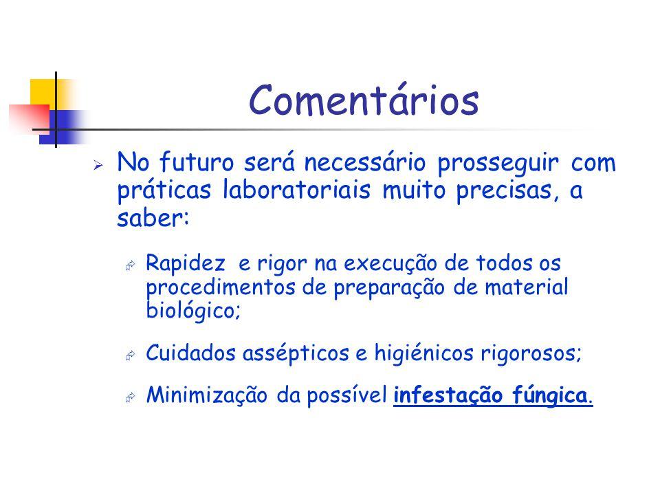 Comentários No futuro será necessário prosseguir com práticas laboratoriais muito precisas, a saber: Rapidez e rigor na execução de todos os procedime