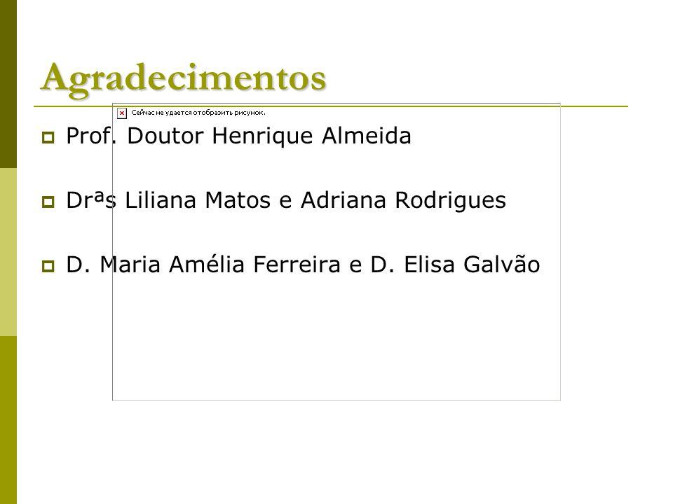 Agradecimentos Prof.Doutor Henrique Almeida Drªs Liliana Matos e Adriana Rodrigues D.