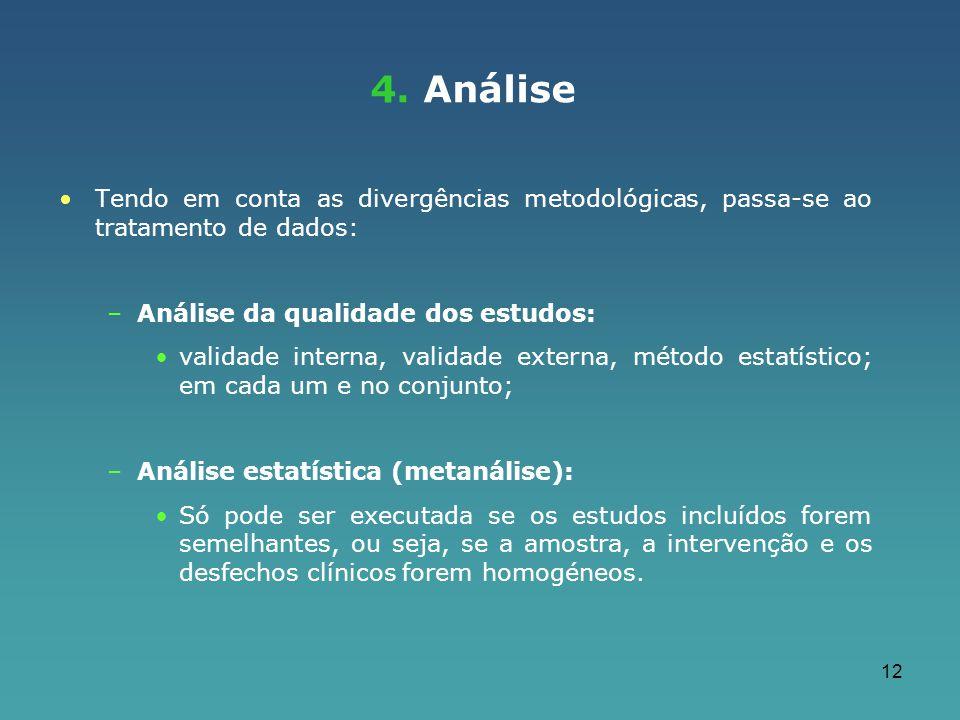 12 4. Análise Tendo em conta as divergências metodológicas, passa-se ao tratamento de dados: –Análise da qualidade dos estudos: validade interna, vali
