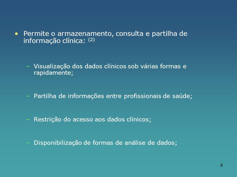 4 Permite o armazenamento, consulta e partilha de informação clínica: (2) –Visualização dos dados clínicos sob várias formas e rapidamente; –Partilha de informações entre profissionais de saúde; –Restrição do acesso aos dados clínicos; –Disponibilização de formas de análise de dados;