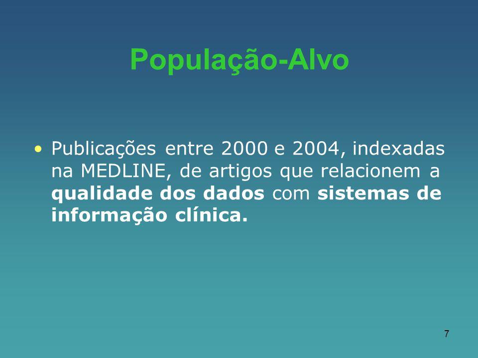 7 Publicações entre 2000 e 2004, indexadas na MEDLINE, de artigos que relacionem a qualidade dos dados com sistemas de informação clínica. População-A