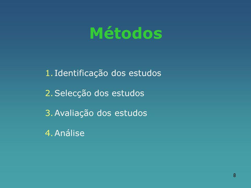 8 Métodos 1.Identificação dos estudos 2.Selecção dos estudos 3.Avaliação dos estudos 4.Análise
