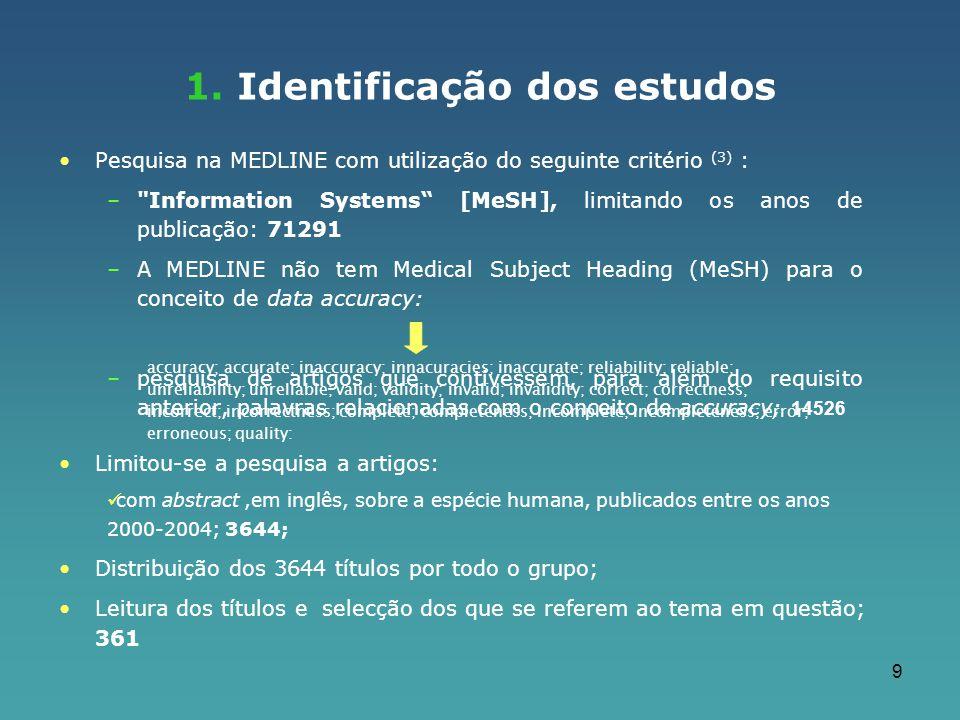 9 Pesquisa na MEDLINE com utilização do seguinte critério (3) : –