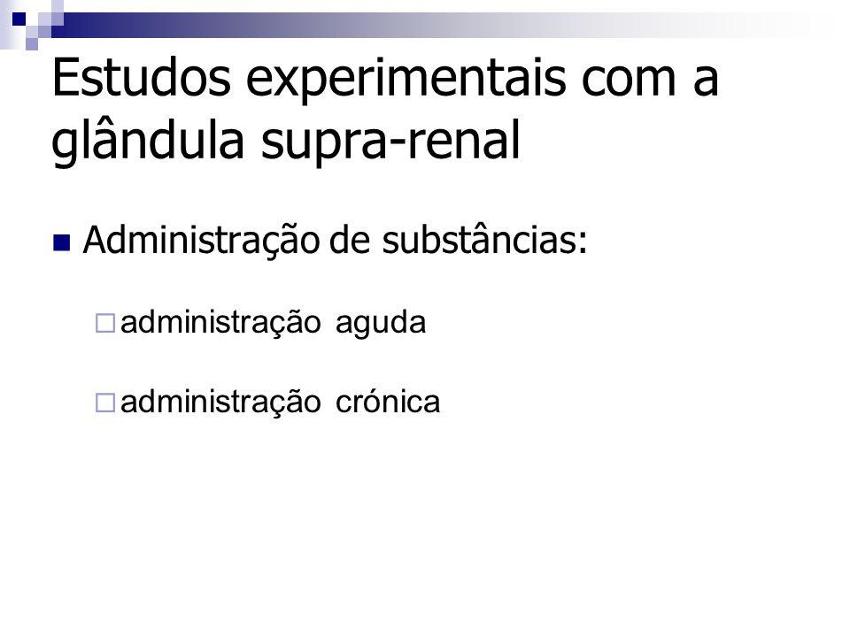 Administração de substâncias: administração aguda administração crónica