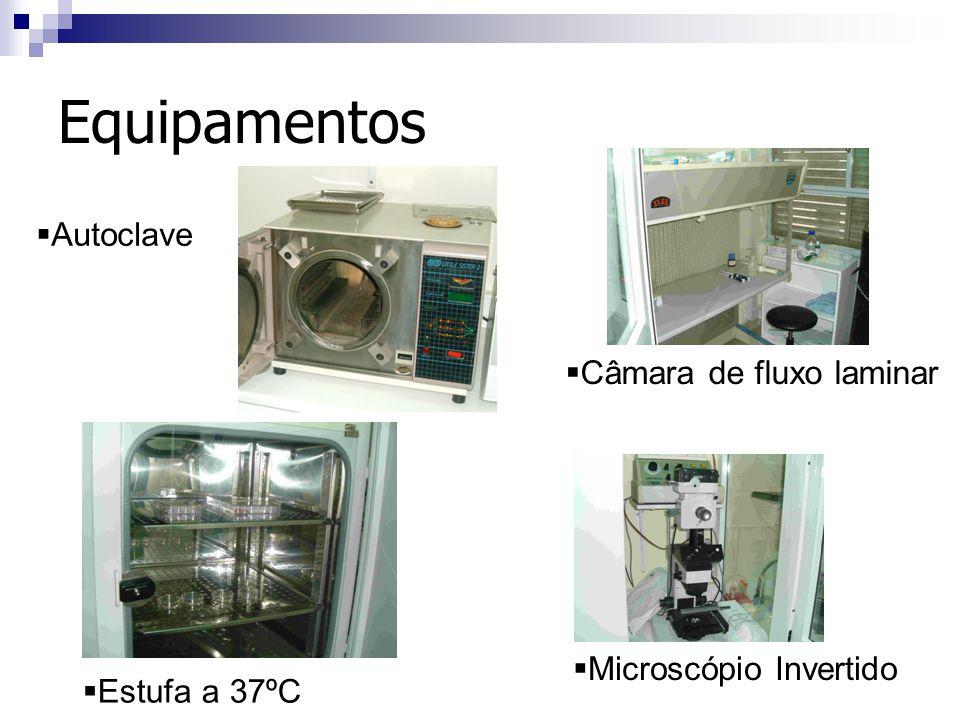 Equipamentos Autoclave Estufa a 37ºC Câmara de fluxo laminar Microscópio Invertido