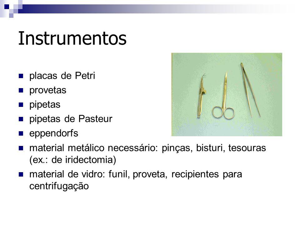 Instrumentos placas de Petri provetas pipetas pipetas de Pasteur eppendorfs material metálico necessário: pinças, bisturi, tesouras (ex.: de iridectom