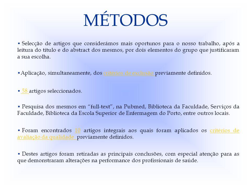MÉTODOS Compilação dos resultados obtidos nos diferentes artigos.