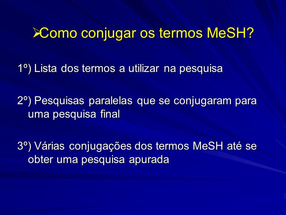 Como conjugar os termos MeSH. Como conjugar os termos MeSH.