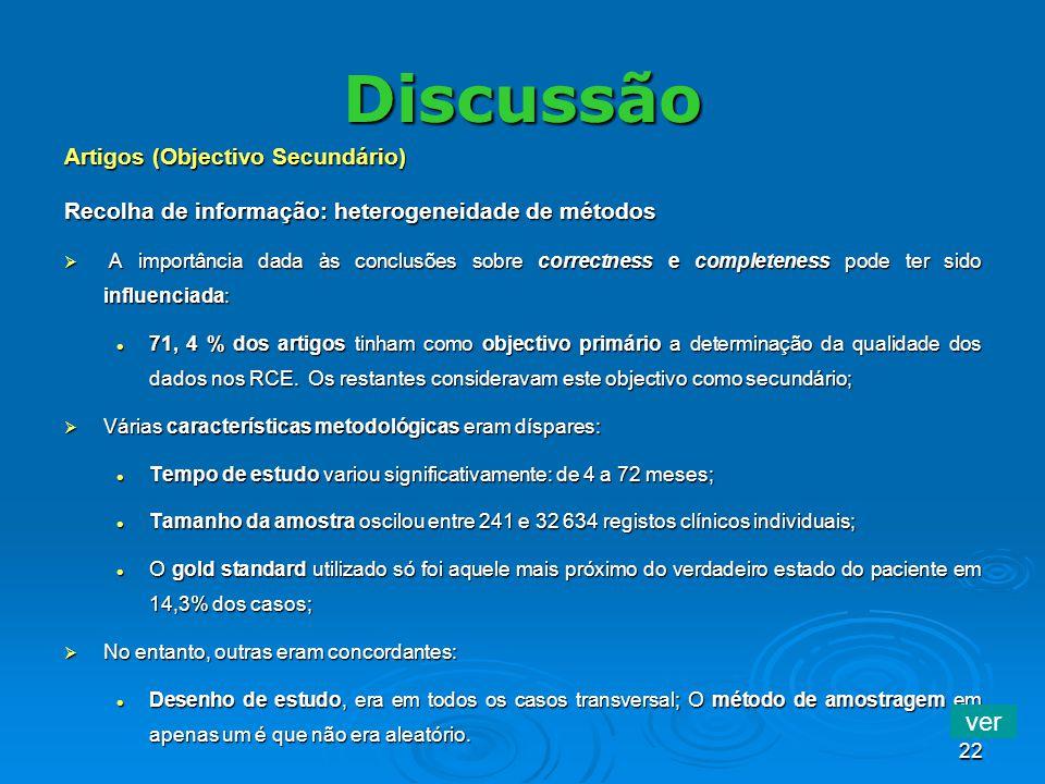 22 Discussão Artigos (Objectivo Secundário) Recolha de informação: heterogeneidade de métodos A importância dada às conclusões sobre correctness e com