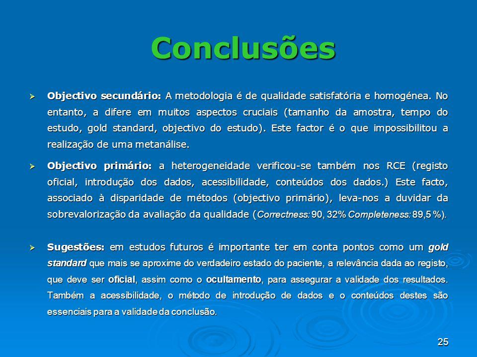 25 Objectivo secundário: A metodologia é de qualidade satisfatória e homogénea. No entanto, a difere em muitos aspectos cruciais (tamanho da amostra,