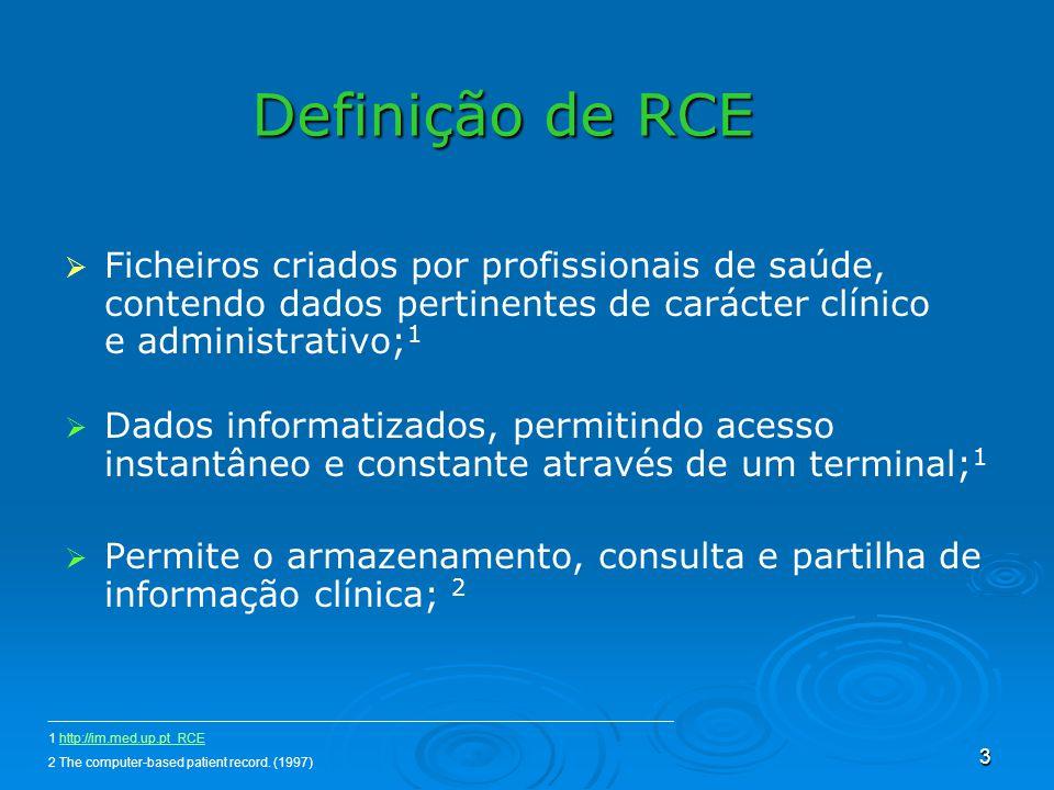 3 Definição de RCE Ficheiros criados por profissionais de saúde, contendo dados pertinentes de carácter clínico e administrativo; 1 Dados informatizad