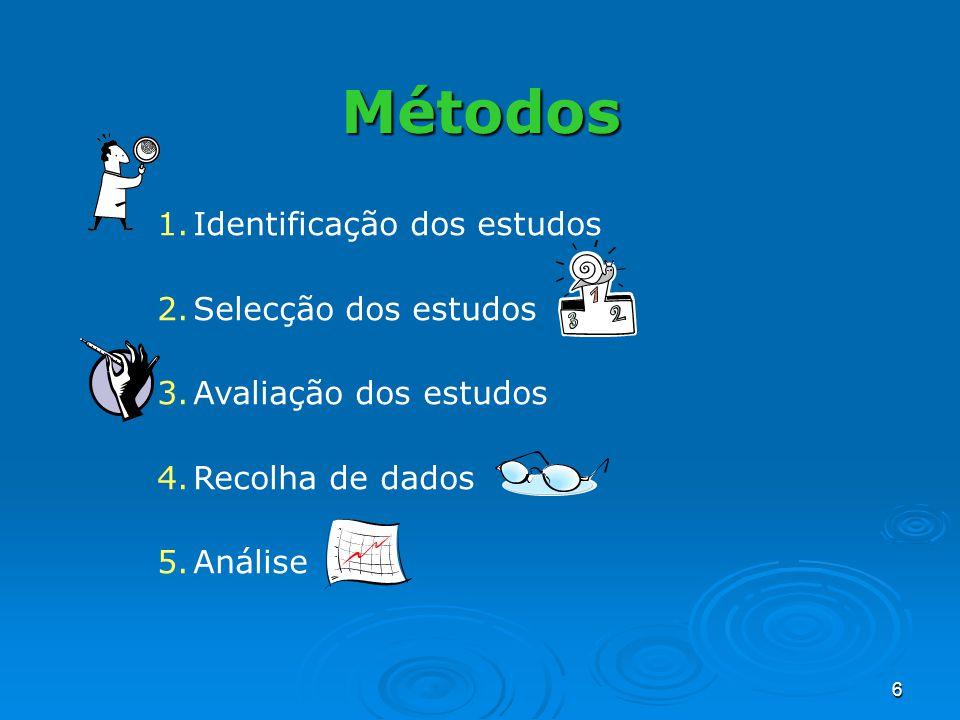 6 Métodos 1.Identificação dos estudos 2.Selecção dos estudos 3.Avaliação dos estudos 4.Recolha de dados 5.Análise