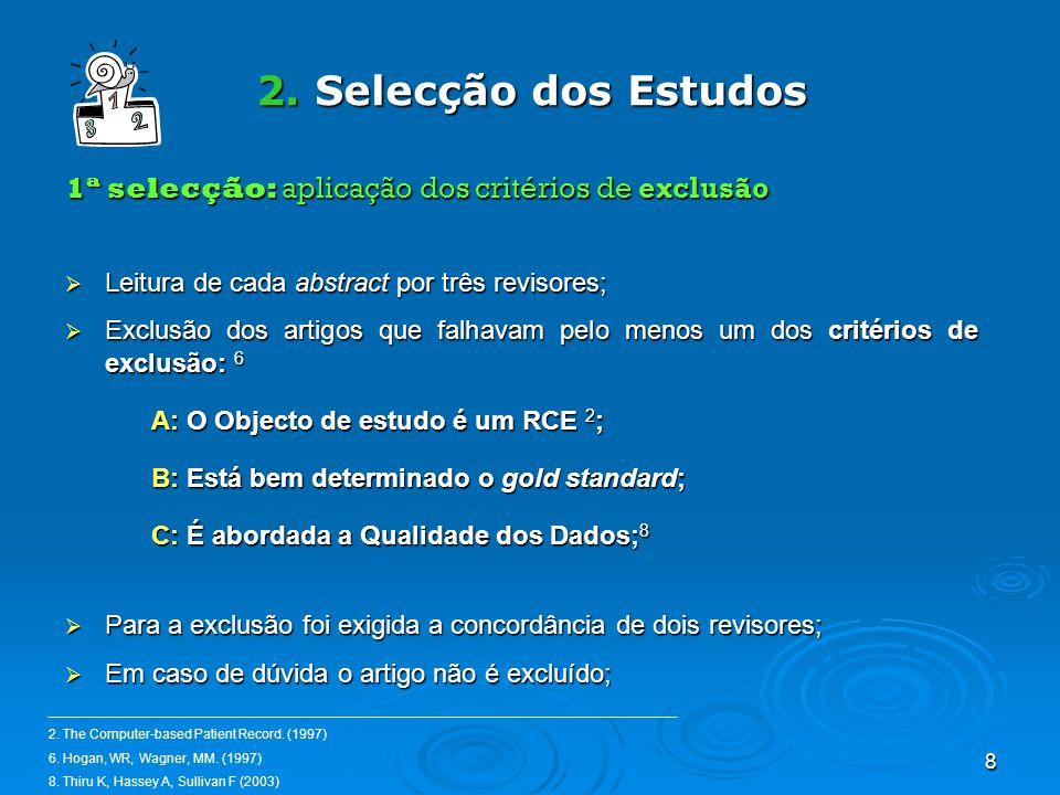 8 2. Selecção dos Estudos 1ª selecção: aplicação dos critérios de exclusão Leitura de cada abstract por três revisores; Leitura de cada abstract por t
