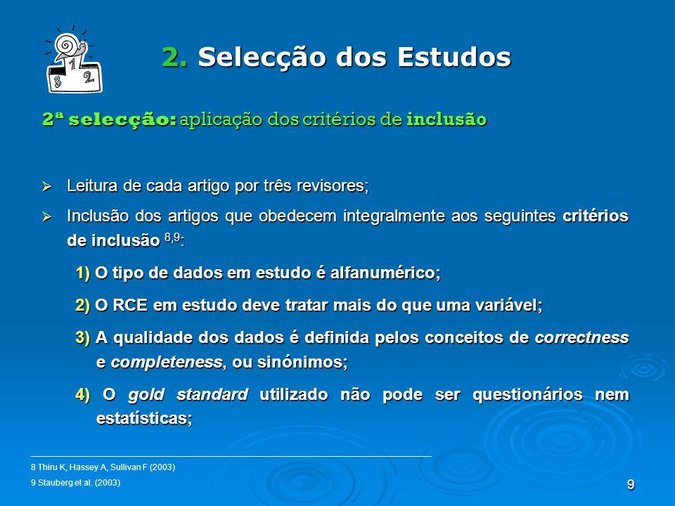 9 2. Selecção dos Estudos 2ª selecção: aplicação dos critérios de inclusão Leitura de cada artigo por três revisores; Leitura de cada artigo por três