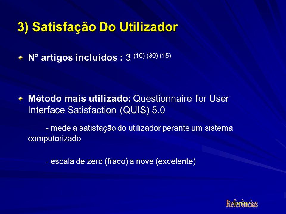 3) Satisfação Do Utilizador Nº artigos incluídos : 3 (10) (30) (15) Método mais utilizado: Questionnaire for User Interface Satisfaction (QUIS) 5.0 - mede a satisfação do utilizador perante um sistema computorizado - escala de zero (fraco) a nove (excelente)