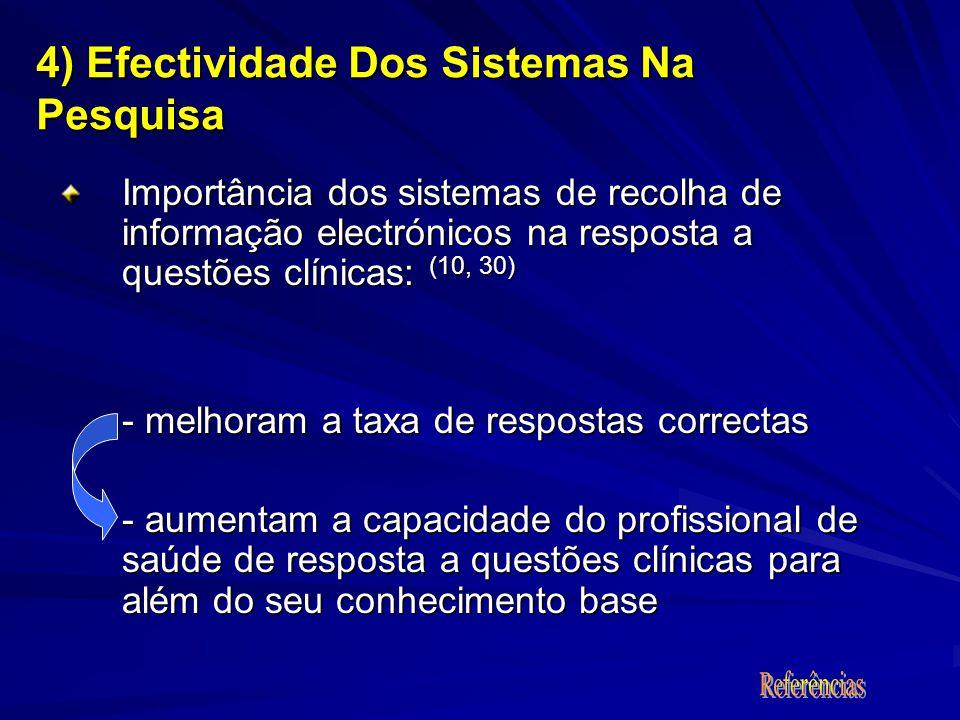 Importância dos sistemas de recolha de informação electrónicos na resposta a questões clínicas: (10, 30) - melhoram a taxa de respostas correctas - au