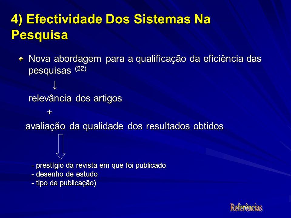 Nova abordagem para a qualificação da eficiência das pesquisas (22) relevância dos artigos + avaliação da qualidade dos resultados obtidos avaliação d