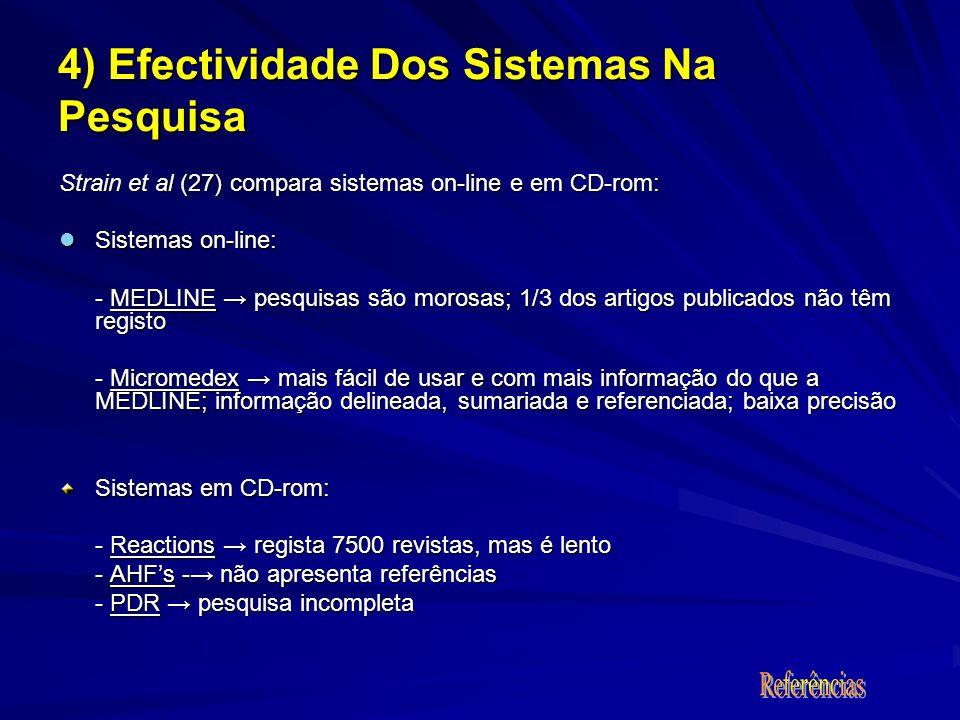 Strain et al (27) compara sistemas on-line e em CD-rom: Sistemas on-line: Sistemas on-line: - MEDLINE pesquisas são morosas; 1/3 dos artigos publicado