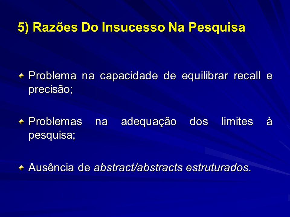 Problema na capacidade de equilibrar recall e precisão; Problemas na adequação dos limites à pesquisa; Ausência de abstract/abstracts estruturados. 5)