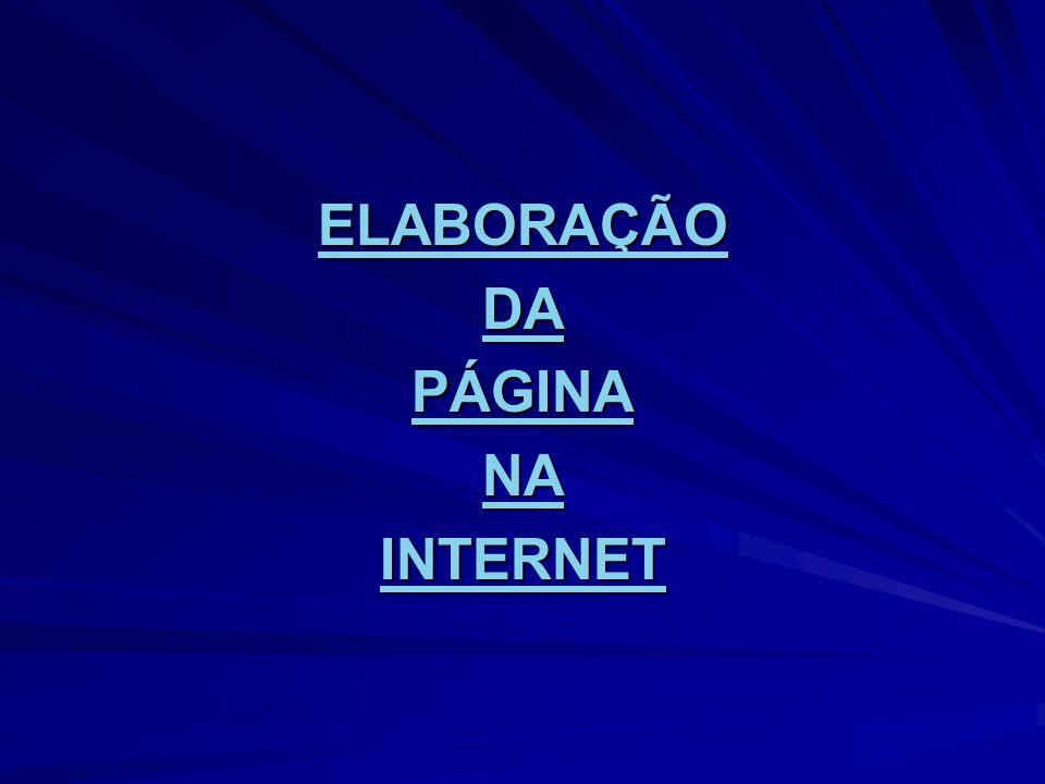 ELABORAÇÃO DA PÁGINA NA INTERNET