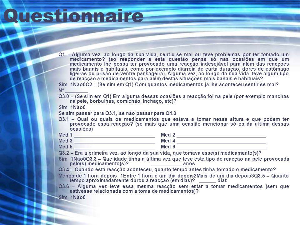 Questionnaire Q1 – Alguma vez, ao longo da sua vida, sentiu-se mal ou teve problemas por ter tomado um medicamento.