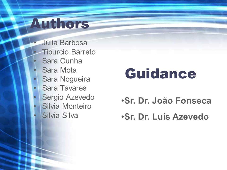 Authors Júlia Barbosa Tiburcio Barreto Sara Cunha Sara Mota Sara Nogueira Sara Tavares Sergio Azevedo Silvia Monteiro Silvia Silva Guidance Sr.