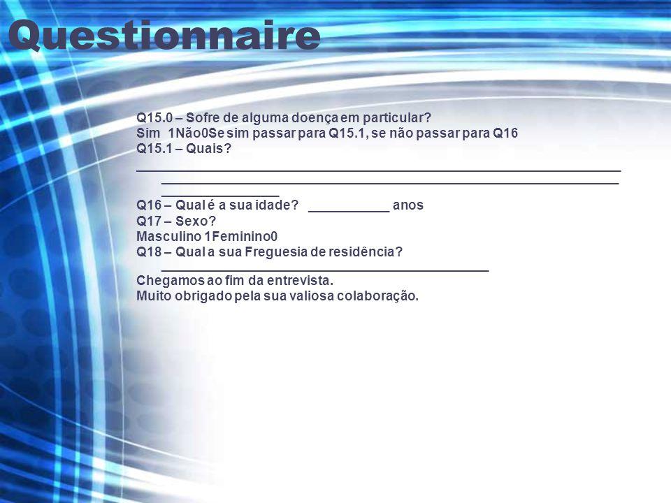 Questionnaire Q15.0 – Sofre de alguma doença em particular.