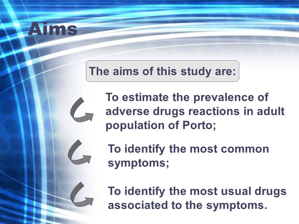 Aims The aims of this study are: To estimate the prevalence of adverse drugs reactions in adult population of Porto; To identify the most common sympt