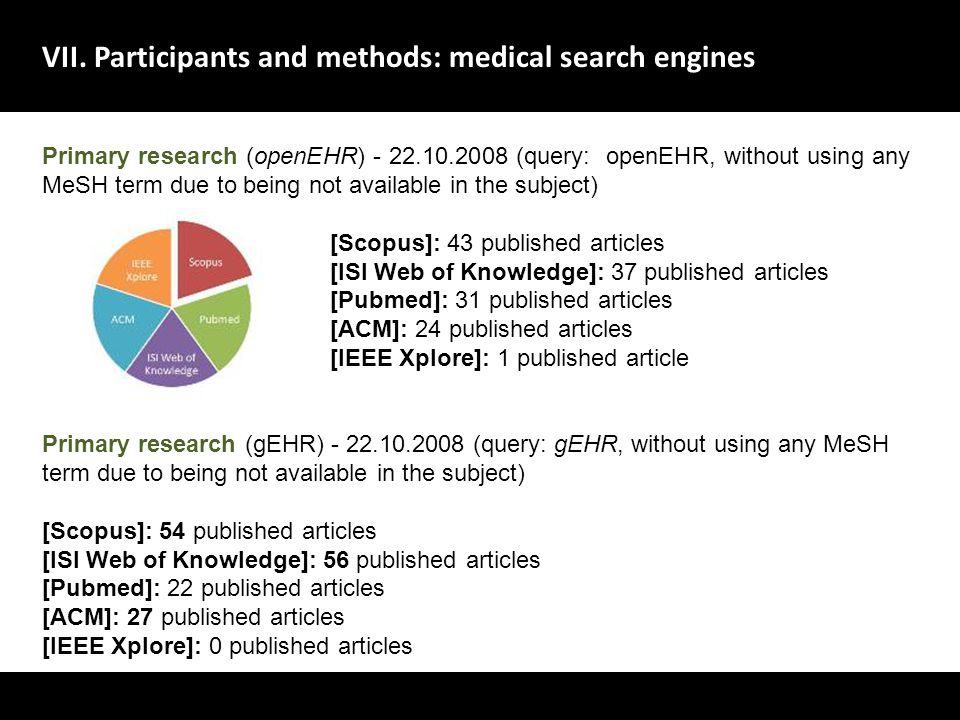 VII. Participants and methods: medical search engines A evolu ç ão dos sistemas de gestão de dados no dom í nio da sa ú de deve centrar-se no utente,