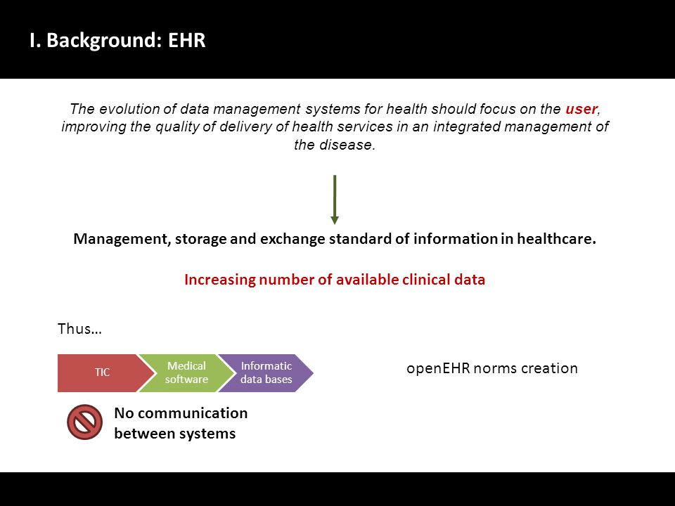 I. Background: EHR The evolution of data management systems for health should focus on the user, improving the quality of delivery of health services